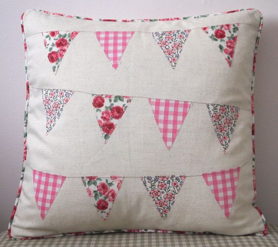 Cushion Pillow Handmade Vintage Pink Bunting by HomebirdTextiles, £30.00