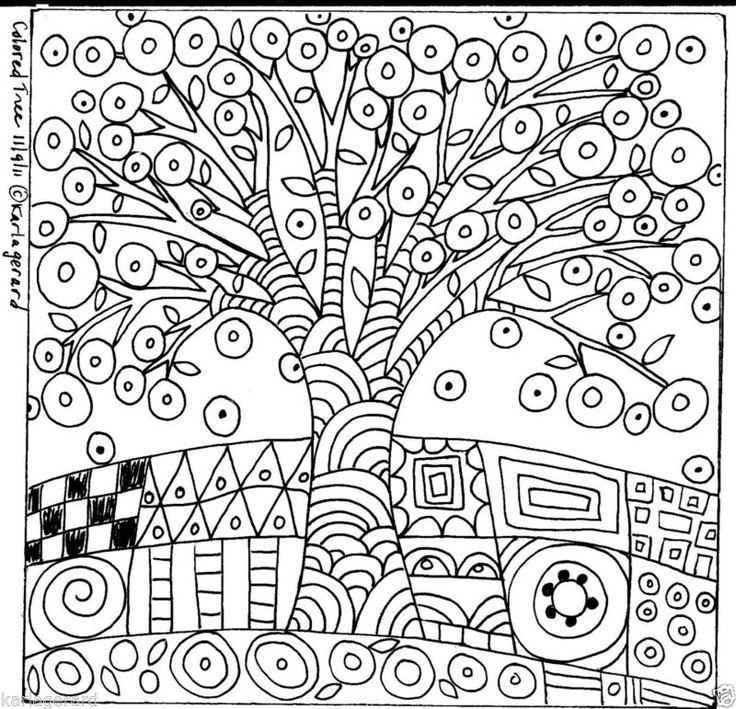 Alfombra De Enganche patrón de papel Color árbol arte popular primitivo de Abstracto Karla Gerard