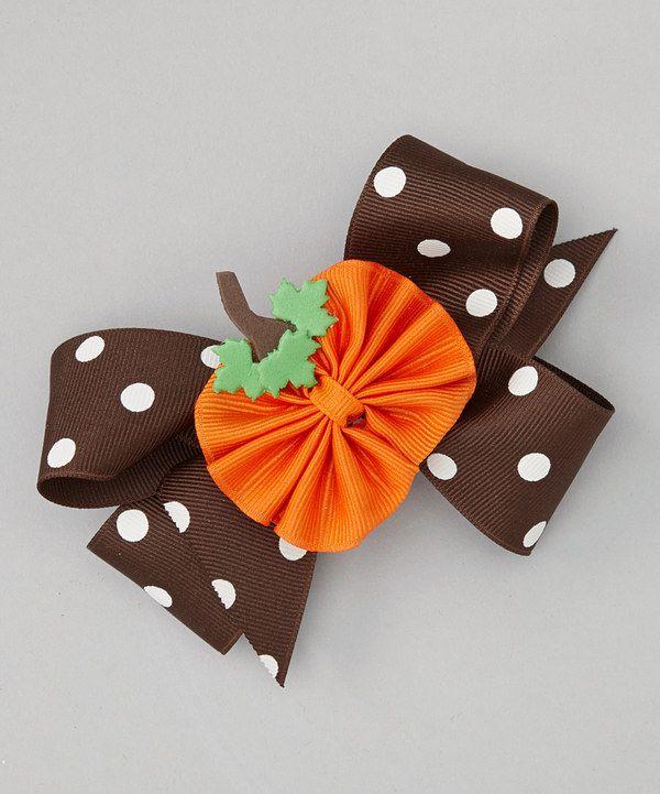 Look at this Brown Polka Dot Pumpkin Bow Clip Set on #zulily today!