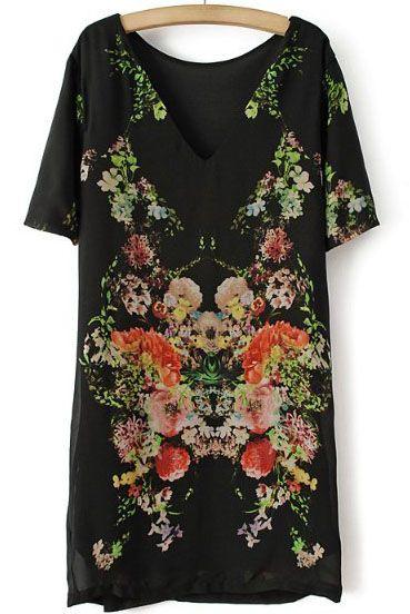 Black Short Sleeve Floral Backless Straight Dress - Sheinside.com