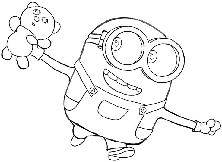 Finished Black And White Drawing Of Bob With His Teddy Bear From The Minions Movie 2015