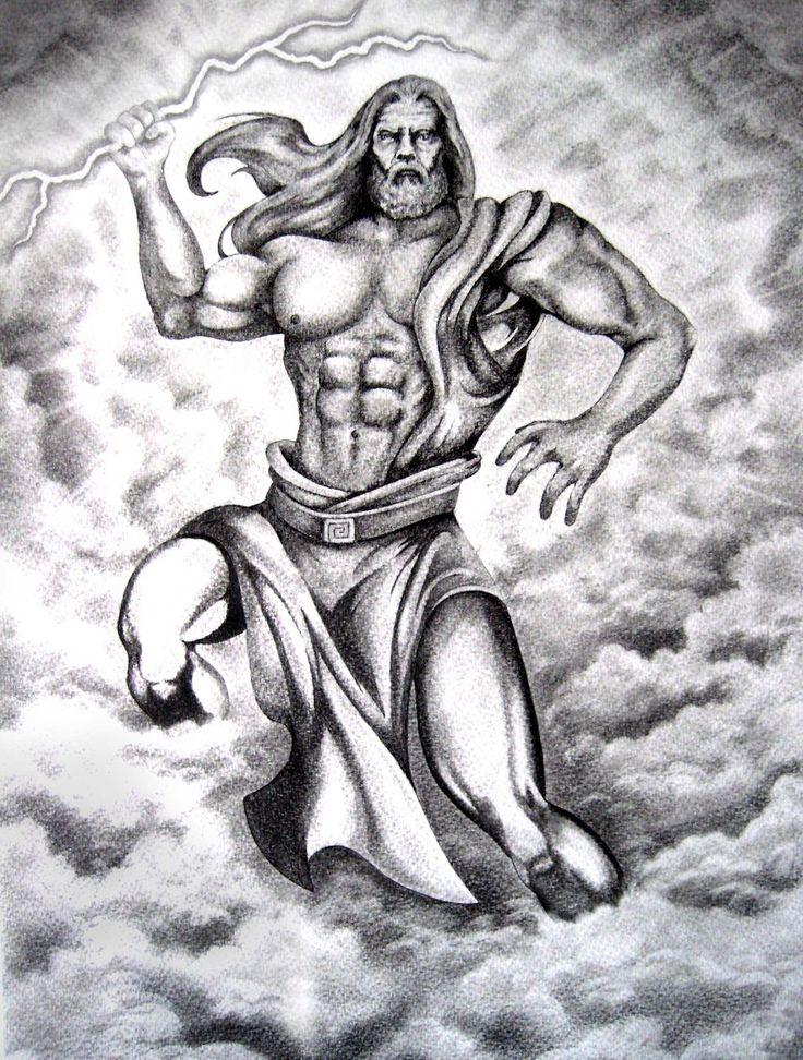 The Greek god Zeus arriving from the heaven with thunder. #zeus #greek #mythology #thunder #art