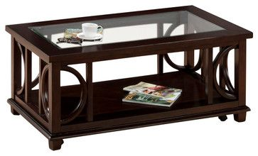 Jofran Panama 4-Piece Coffee Table Set with Shelf, Glass Insert and Casters traditional-coffee-table-sets