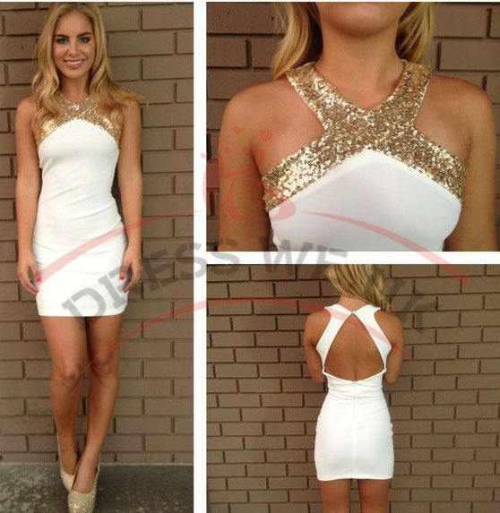 Sheath Short Homecoming Dresses,Gold Sequins Homecoming Dresses,Halter Prom Dresses,Backless Party Graduation Dresses