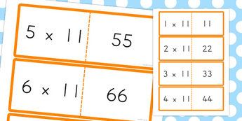 11 Times Tables Cards - australia, times tables, cards, 11, times