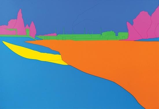 "Michael Craig-Martin 2004 ""Deconstructing Seurat (turquoise)"""