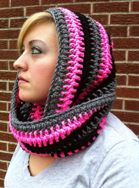 scarf with hood...like 24 hour pattern book...I need one of these!! I wish I could crochet!