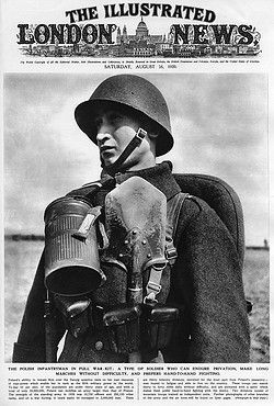A Polish infantryman in full war kit complete with shovel. The Illustrated London News calls him 'a type of soldier who can endure privation, make long marches without difficulty, and prefers hand to hand fighting.' Pin by Paolo Marzioli