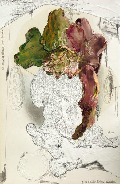 """'Bonjour Monsieur G. / silence, pour écouter', acrylic, graphite and oil on handcoloured steel engraving by J. J. Grandville """"Les Fleurs Animées"""" (1867), 25 x 15,5 cm, 2013 - Susanne Themlitz"""