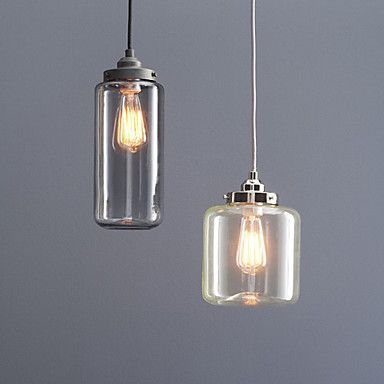60W Modern Pendant Light With 2 Lights And Glass Bottle Shade