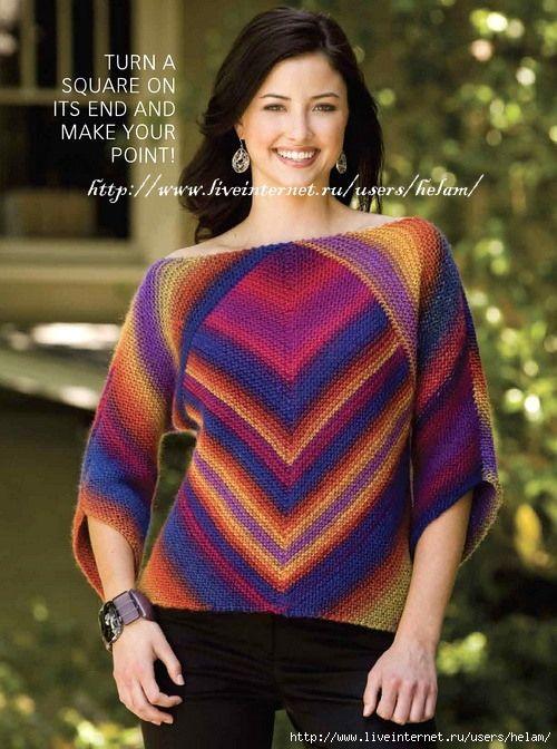Пуловер с фантазийными полосами из Creative Knitting!. Обсуждение на LiveInternet - Российский Сервис Онлайн-Дневников