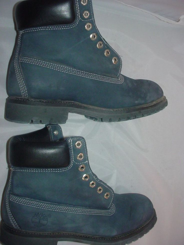 """Mens 6"""" Blue Timberland #Boots Size 9 All Leather 100% Authentic Rugged Timbo  #Timberland #HipHop"""