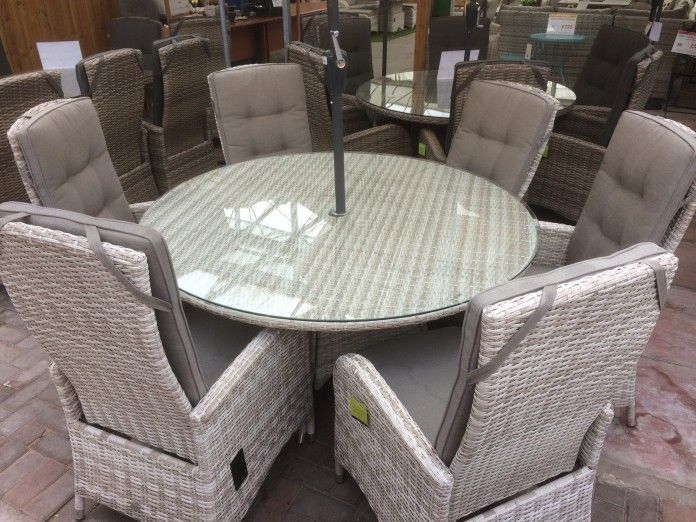 UV stabilised rattan – won't fade, rot or go brittle Strong reclining mechanism Latte colour, bright and refreshing. Dining set, perfect for the patio. Strong aluminium frame – will not rust, easy to move All cushions included Majestique – quality rattan furniture Buy online today   https://www.gardenfurnitureuk.co.uk/all-weather-garden-furniture/six-seater-reclining-dining-set-in-latte-rattan/