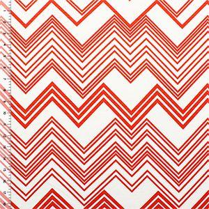 Koi Orange Linear Chevron Cotton Jersey Blend Knit Fabric