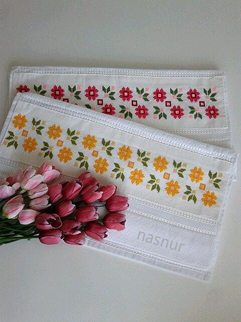 etamin havlu işleme el emegi cross stitch towels embroidery handmade