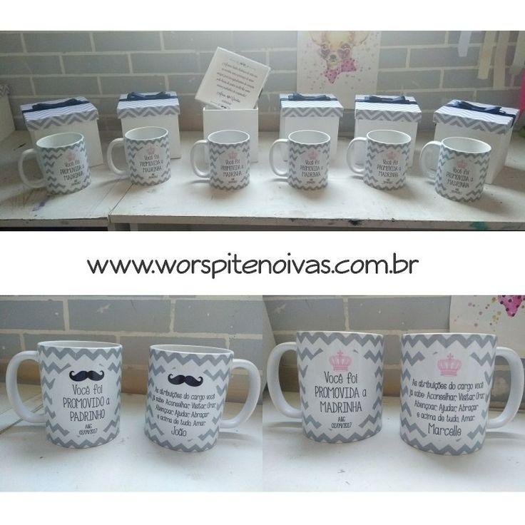A Carol escolheu nossos Kits de Caixa e Caneca para presentear as suas Madrinhas e Padrinhos, no dia do casamento  . Produto à venda aqui: www.worspitenoivas.com.br