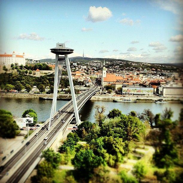 A nice image taken on a nice day...SNP Bridge, Danube River and Bratislava Castle (by aslakg)