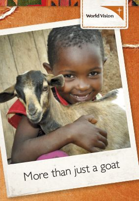 Eight-year-old Naomi from Kenya loves her family's goat, which provides nutritious milk.