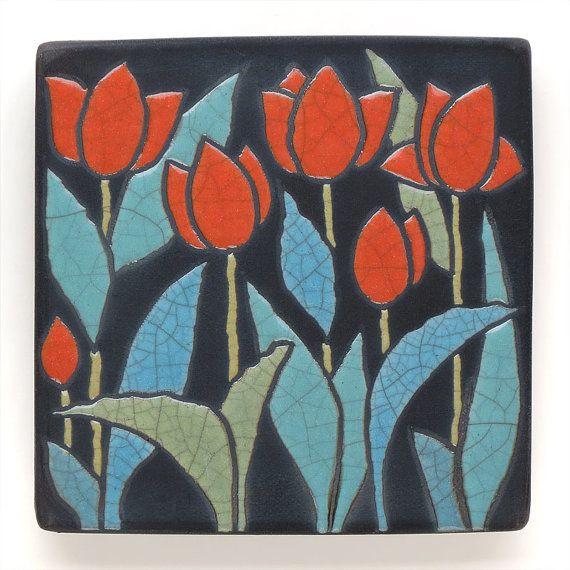Wall art,Red Tulips,Ceramic tile , handmade 4x4 raku fired art tile