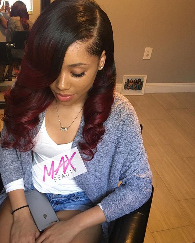 Black cherry  Full sew in with curls using 4 bundles of Brazilian straight purchased and custom color by us  Max Doll : @mayukothedoll
