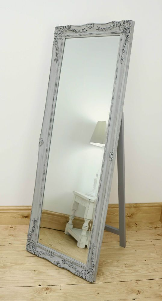 "Isabella Vintage Grey Shabby Chic Full Length Antique Cheval Mirror 60"" x 22"" XL 