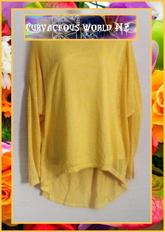 Yellow Asymmetric Hem bat winged Long Sleeve Blouse