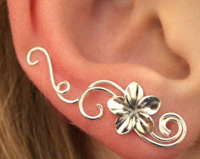 Victoriana Plumeria - pendiente oreja brazalete minimalista oído Pin oído escalador oído Sweep - remolino plata o metales mezclados