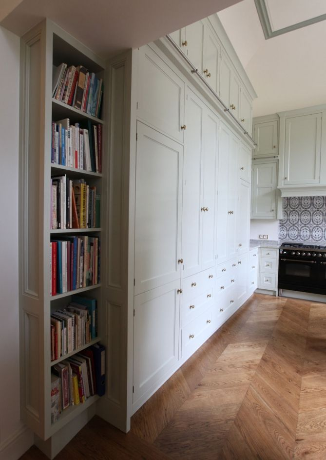 chevron floor + white cabinetry