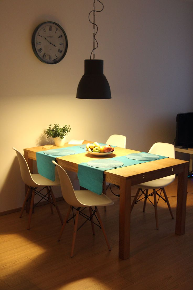 Ideas about turquoise lamp on pinterest apartment - Oak Jysk Table White Chairs Ikea Big Hektar Lamp Wall Clock