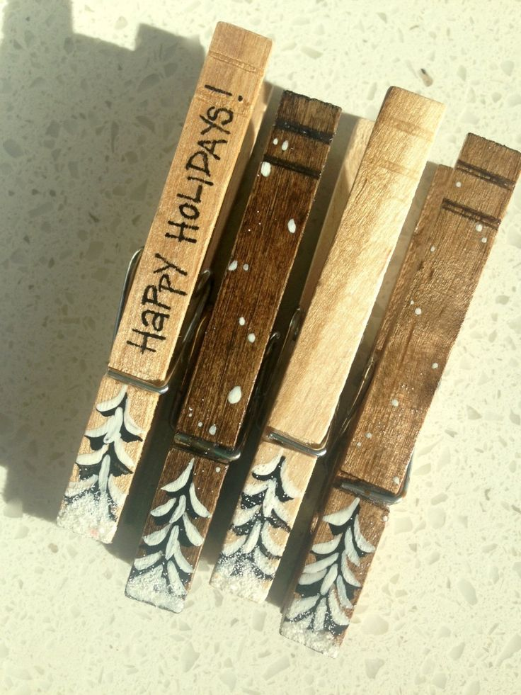 SNOW COVERED TREES clothespins wooden hand painted