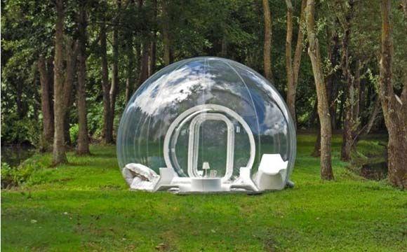 A casa bolha é oferecida em três projetos diferentes. Esta é a casa cristal