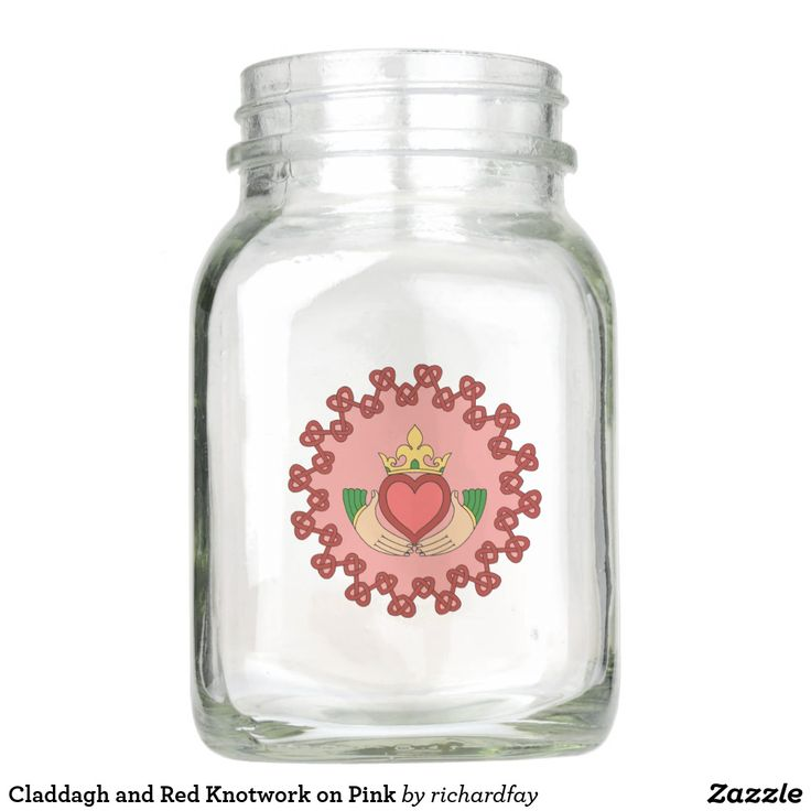 Claddagh and Red Knotwork on Pink Mason Jar