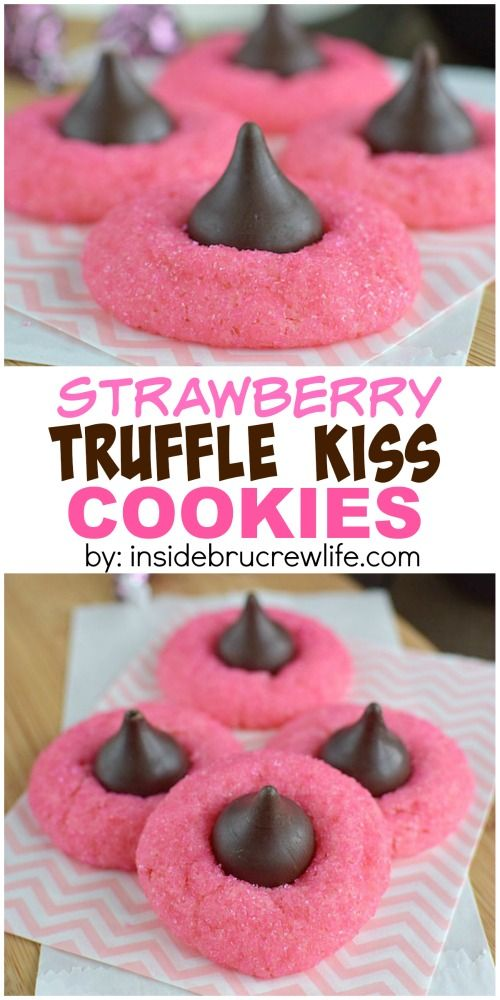 These easy strawberry cookies are topped with a truffle kiss Hershey kiss and sparkles.  This is an amazing dessert recipe!!!