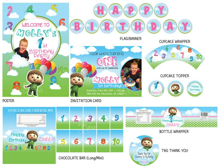 Charlie and the Numbers Birthday Party Set are: - Flag Banner 'Happy Birthday' - Welcome Poster A3 size - Chocolate Bar Wrappers - Chocolate Mini Bar Wrappers - Bottle Mineral Wrappers - Tag 'Thank you' Like our facebook page https://www.facebook.com/MamaCreative