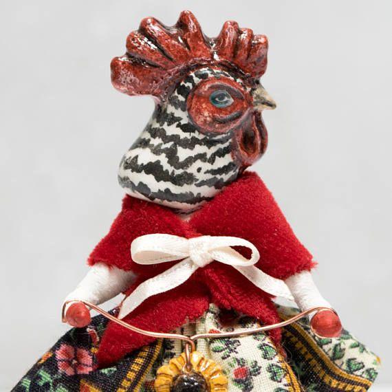 Speckled hen cotton batting ornament