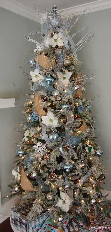 Add a little burlap to my already blue and white tree. And wozers new tree. Love this combo!,