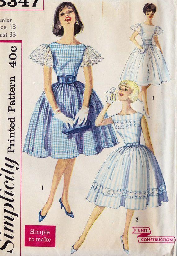 "1960s Junior Party Dress Vintage Sewing Pattern, Full Skirt, Summer Dress Simplicity 3347 bust 33"" uncut"