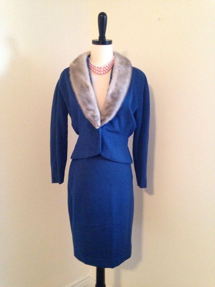 TODAYS SURPRISE SALE Vintage 1950s ladies suit sapphire silver mink winter…