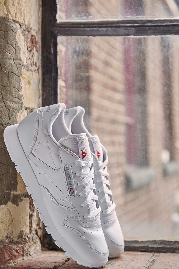 Rebook - Baskets classiques en cuir blanc à semelle caoutchouc