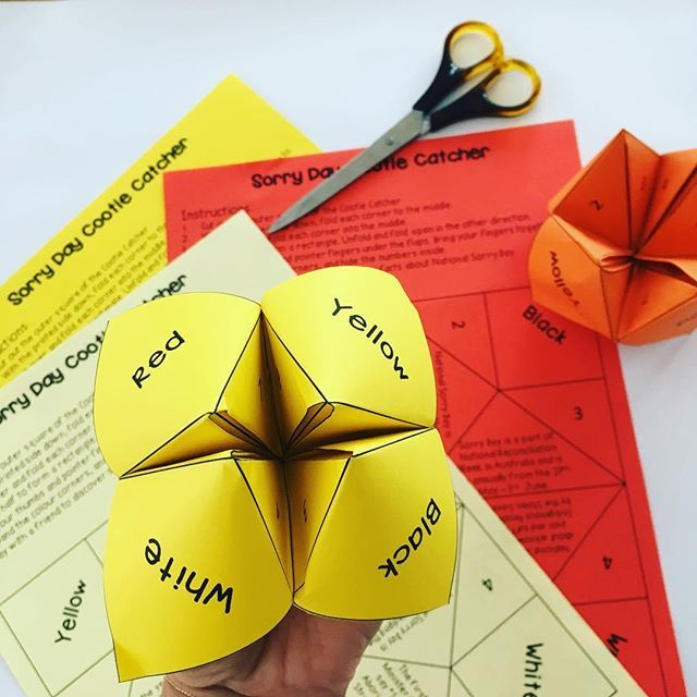 A fun way to learn some facts about National Sorry Day. I never knew this paper game was called a cootie catcher! Find this in our Primary Sorry Day Pack, along with 11 more activities. ~ Rainbow Sky Creations ~