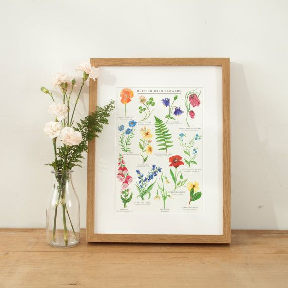A beautiful giclée print, featuring 13 hand-painted watercolour illustrations of British Wild Flowers  The ideal gift for a nature lover, his hand-painted floral print is perfect to bring some colour into your home and show your love for beautiful British wildflowers. This print shows 13 common British wild flowers, seen in meadows and woodland across the country in Spring & Summer. Bring some spring summer colour into your home to cheer up even the gloomiest of months.  Inspired by vinta...