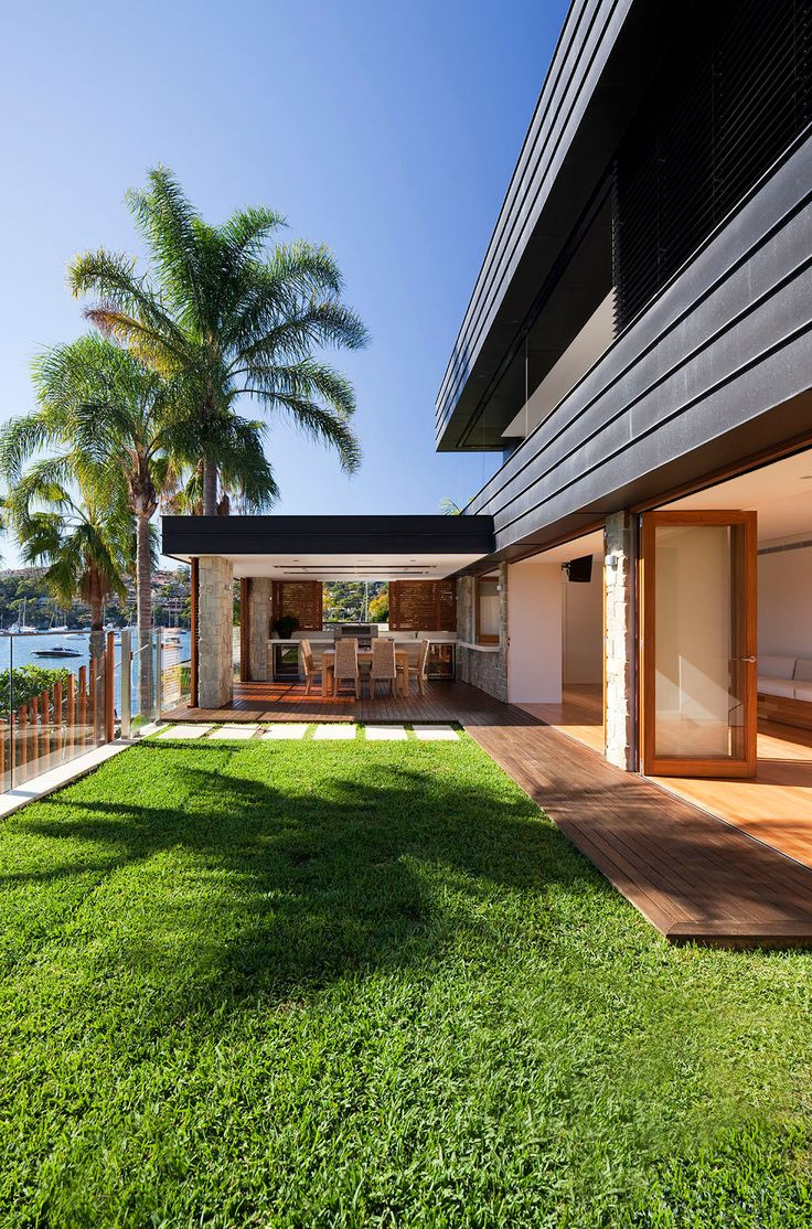 Fox Johnston Architects - Shellbank House Mosman Sydney - Photography Steve Back - Outdoor Room linking indoor to outdoor