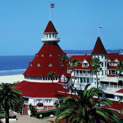 "Hotel Del Coronado, Coronado, CA.  ""Beachfront luxury hotel...one of the few surviving examples of an American architectural genre:  the wooden Victorian beach resort...When it opened in 1888, it was the largest resort hotel in the world...[The] Grand Floridian Hotel['s] [Orlando, FL]...exterior architecture is based on the Hotel Del Coronado.""  -Wikipedia."