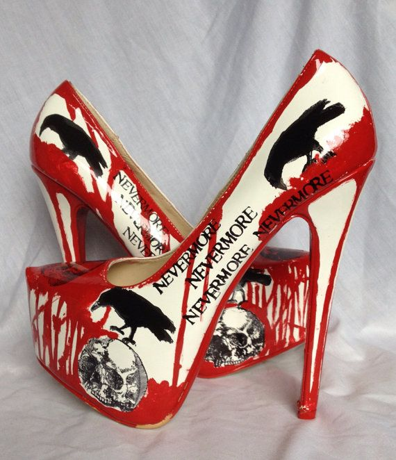 I WANT THESE!!! Nevermore Raven and Skull Killer Heels US by MissFiendishApparel, £58.00