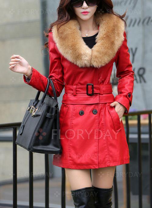 Пальто & куртки - $73.85 - Длинное пальто из кожи и искусственной кожи с карманом с длинными рукавами (1715114368)