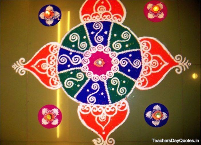 Latest simple rangoli designs for diwali 2015 beautiful for Home made rangoli designs