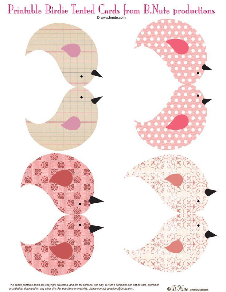 Printable Birdie Tented Cards