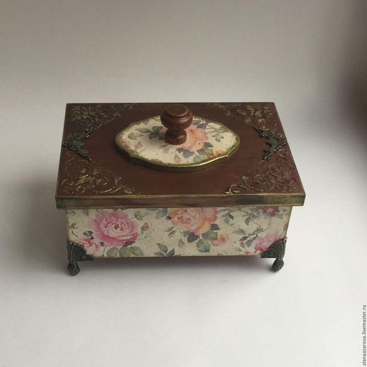 """Купить Шкатулка """" Le Printemps"""" - шкатулка бежевая, шкатулка с цветами, шкатулка деревянная"""