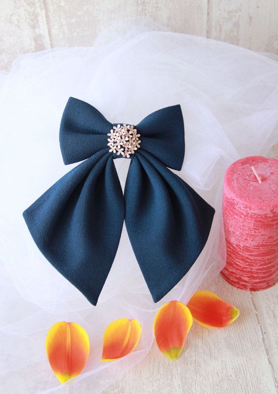 Navy Blue Matte Women's Bow Genuine New #BowsByVaniaSzasz #Etsy