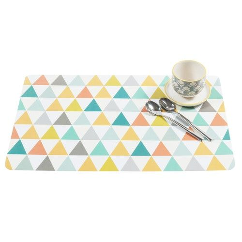 VINTAGE plastic triangle pattern placemat, multicoloured
